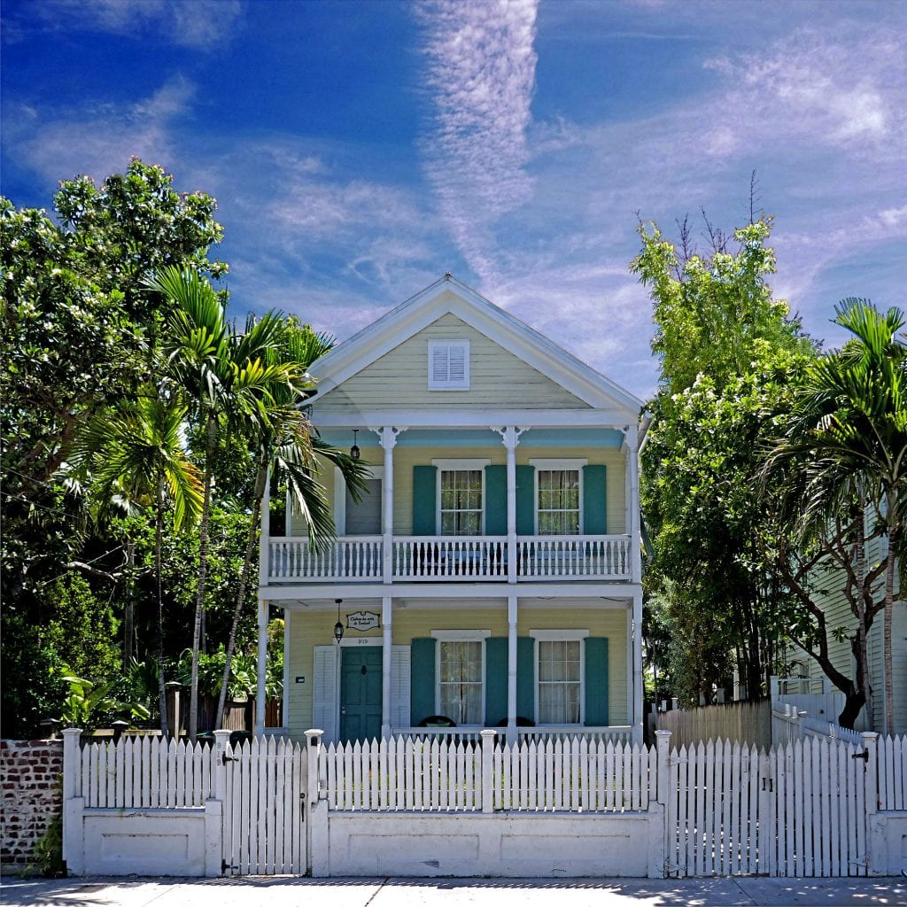 Old Yellow and Green House in Key West