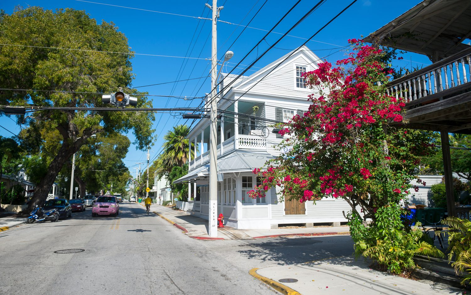 Picturesque street in Old Town in Key West