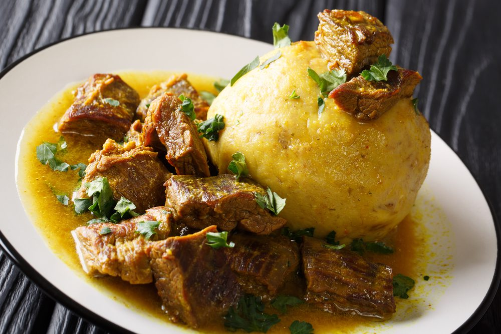 Plate of Puerto Rican mofongo with meat
