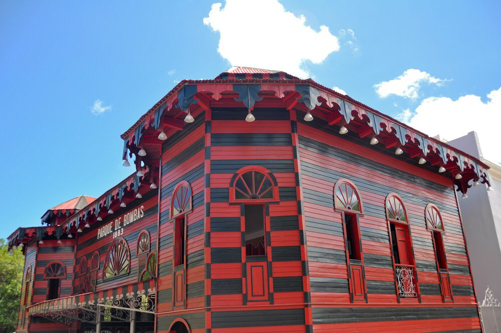 Red and black painted firehouse in Puerto Rico