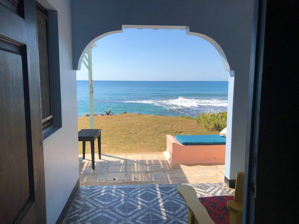 A view of the Caribbean Sea from a cottage